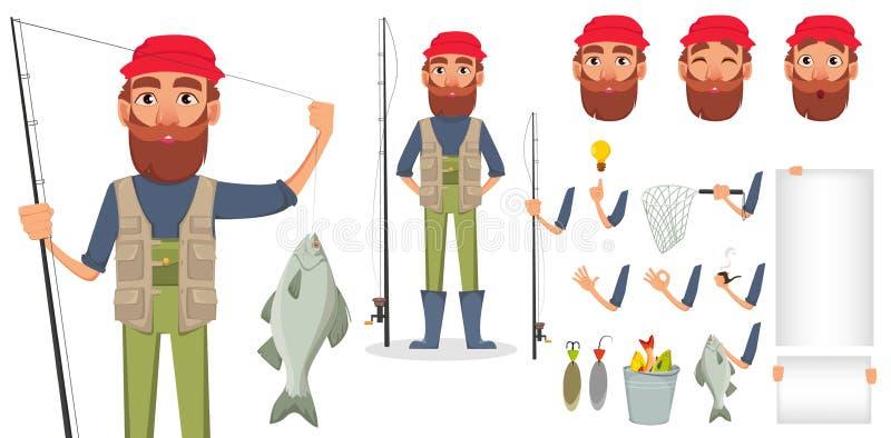 Όμορφος ψαράς, εύθυμος χαρακτήρας κινουμένων σχεδίων απεικόνιση αποθεμάτων