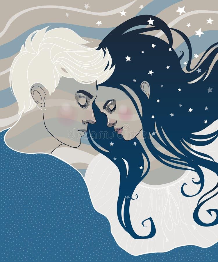 Όμορφος ύπνος αγοριών και κοριτσιών ζευγών ερωτευμένος διανυσματική απεικόνιση