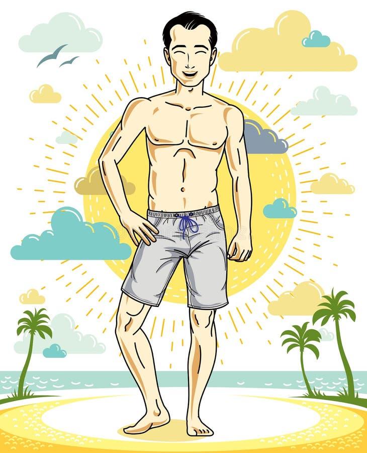 Όμορφος brunet νεαρός άνδρας που στέκεται στην τροπική παραλία στα σορτς απεικόνιση αποθεμάτων