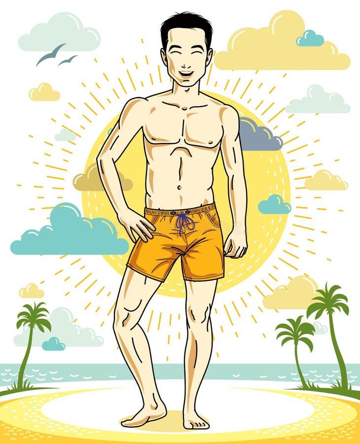 Όμορφος brunet νεαρός άνδρας που στέκεται στην τροπική παραλία στα σορτς διανυσματική απεικόνιση
