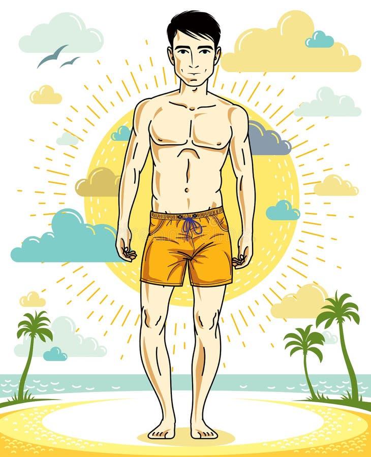 Όμορφος brunet νεαρός άνδρας που στέκεται στην τροπική παραλία στα σορτς ελεύθερη απεικόνιση δικαιώματος