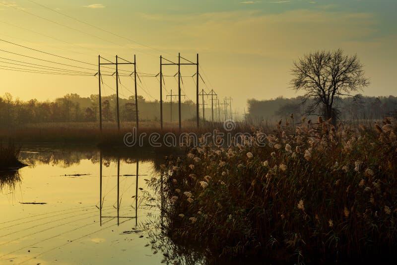 Όμορφος misty ποταμός ανατολής στοκ εικόνα με δικαίωμα ελεύθερης χρήσης