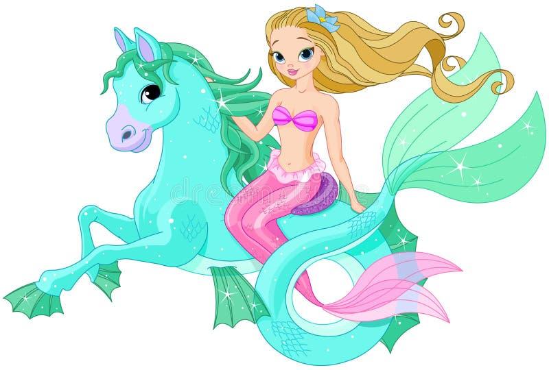 Όμορφο άλογο θάλασσας οδήγησης γοργόνων διανυσματική απεικόνιση