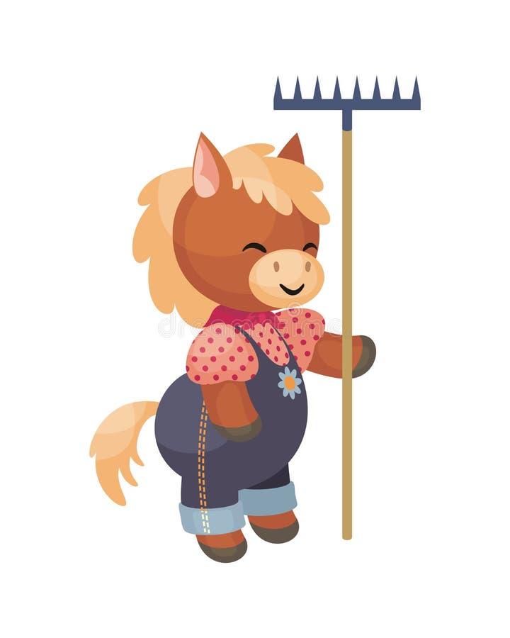 Όμορφο άλογο με μια τσουγκράνα διανυσματική απεικόνιση