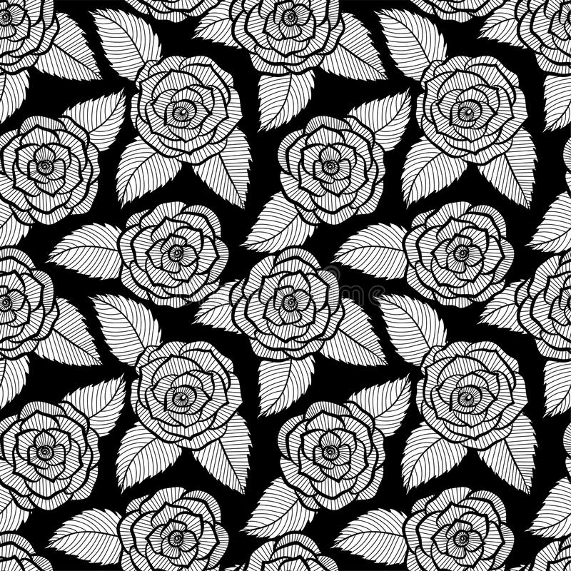 Όμορφο άνευ ραφής γραπτό σχέδιο στη δαντέλλα τριαντάφυλλων και φύλλων Hand-drawn γραμμές και κτυπήματα περιγράμματος διανυσματική απεικόνιση