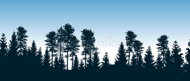 Όμορφο άνευ ραφής διανυσματικό δάσος με τα κωνοφόρα δέντρα απεικόνιση αποθεμάτων