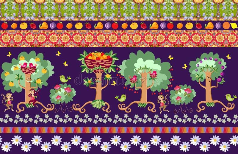 Όμορφο άνευ ραφής ριγωτό σχέδιο με τα χαριτωμένα οπωρωφόρα δέντρα κινούμενων σχεδίων, τους ροδαλούς Μπους, τα πουλιά, τους εύθυμο διανυσματική απεικόνιση