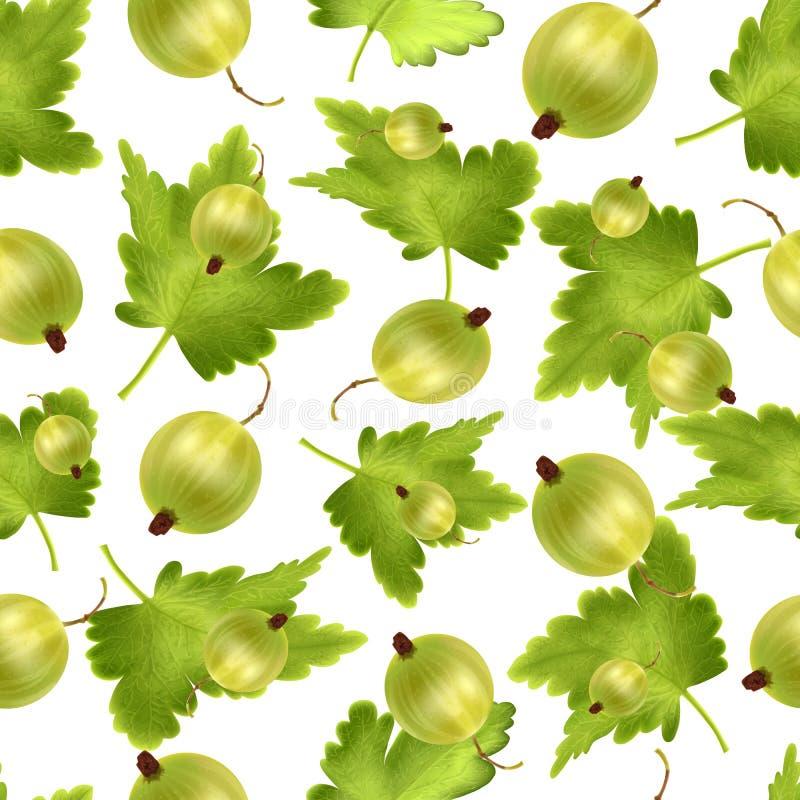 Όμορφο άνευ ραφής σχέδιο με το ρεαλιστικό πράσινο ριβήσιο σε ένα άσπρο υπόβαθρο Άνευ ραφής σχέδιο με το τρισδιάστατο πλέγμα πράσι απεικόνιση αποθεμάτων