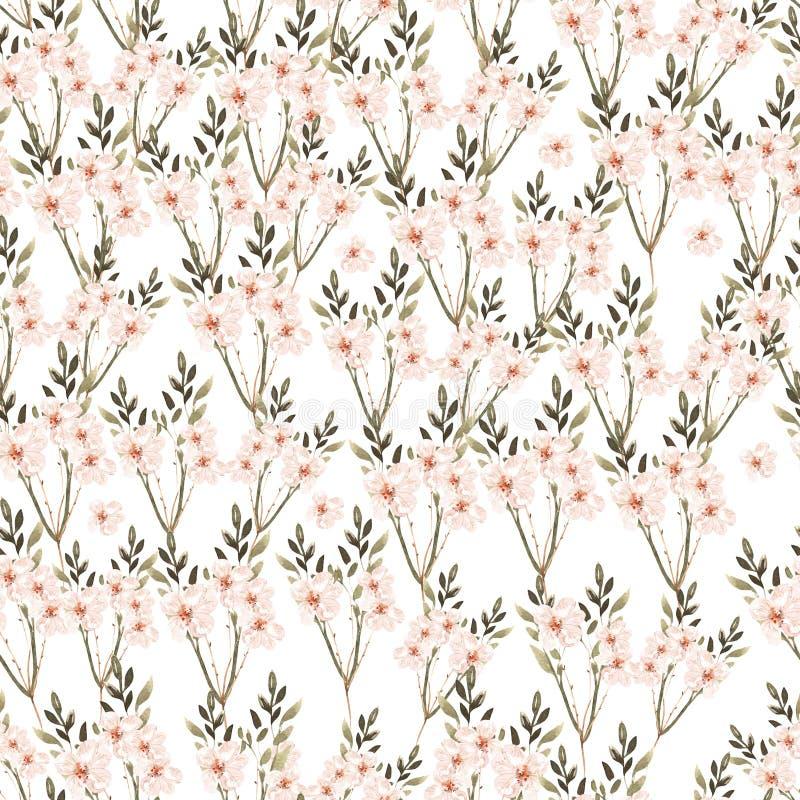 Όμορφο άνευ ραφής σχέδιο Watercolor με τα λουλούδια και τα χορτάρια τριαντάφυλλων ελεύθερη απεικόνιση δικαιώματος