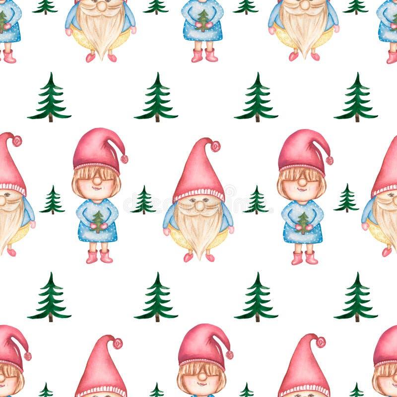 Όμορφο άνευ ραφής σχέδιο Watercolor με τα χριστουγεννιάτικα δέντρα και τα χαριτωμένα στοιχειά ελεύθερη απεικόνιση δικαιώματος