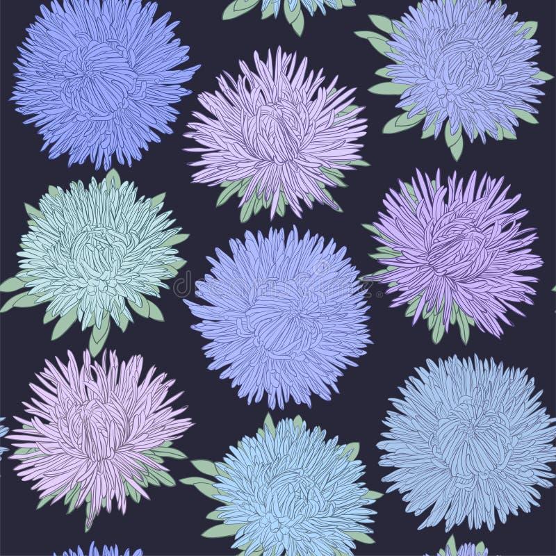 Όμορφο άνευ ραφής σχέδιο με τα λουλούδια αστέρων χαιρετισμός σχεδίου κα&rho ελεύθερη απεικόνιση δικαιώματος