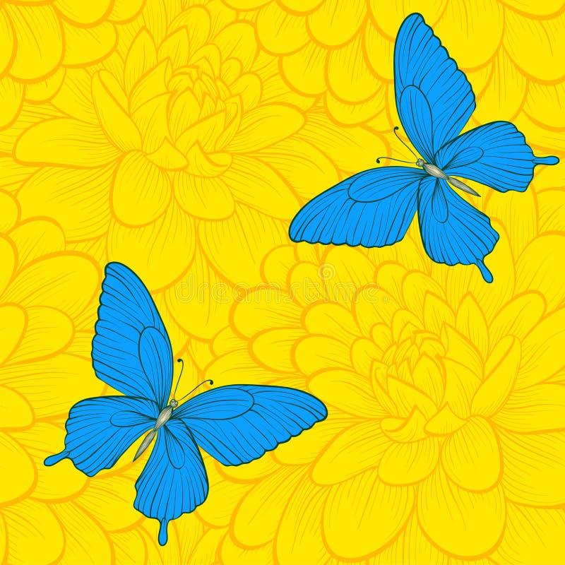 Όμορφο άνευ ραφής υπόβαθρο με τις πεταλούδες και τις ντάλιες ελεύθερη απεικόνιση δικαιώματος