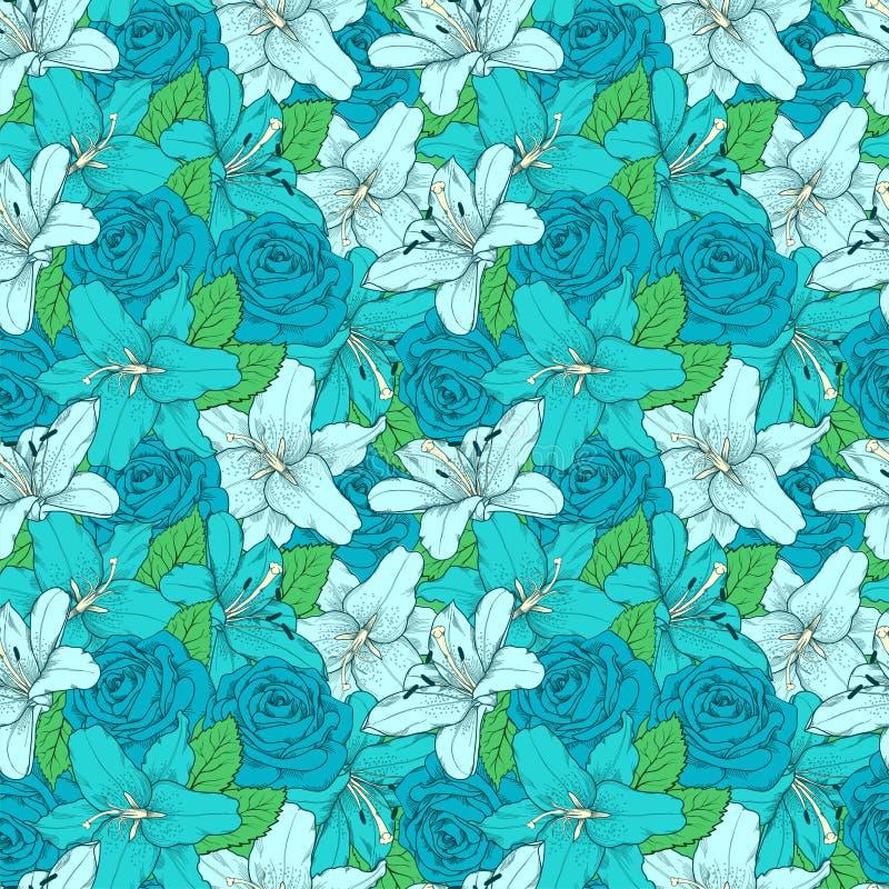 Όμορφο άνευ ραφής υπόβαθρο με τον κρίνο και τα τριαντάφυλλα Hand-drawn γραμμές και κτυπήματα περιγράμματος διανυσματική απεικόνιση