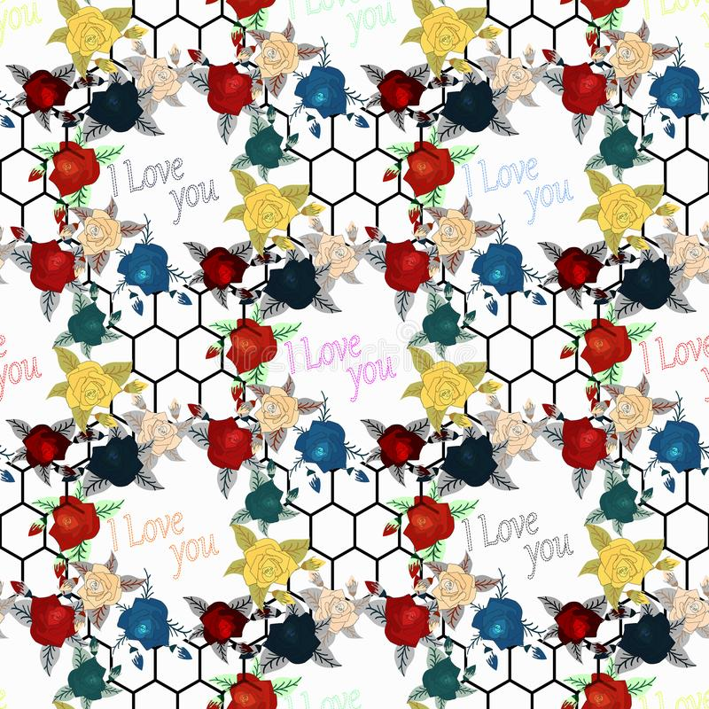Όμορφο άνευ ραφής floral σχέδιο με την επίδραση watercolor Διανυσματική απεικόνιση λουλουδιών ελεύθερη απεικόνιση δικαιώματος