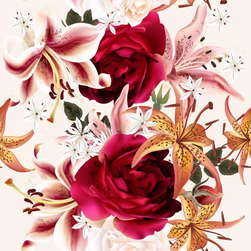Όμορφο άνευ ραφής floral σχέδιο με τα τριαντάφυλλα στο ύφος watercolor διανυσματική απεικόνιση