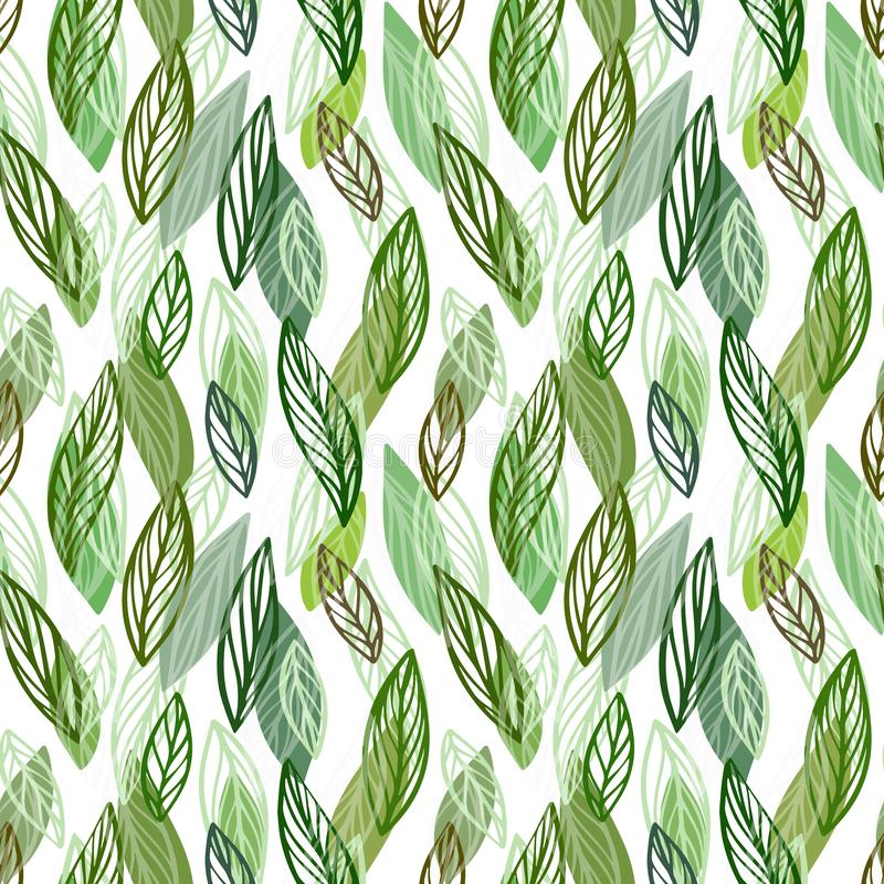 Όμορφο άνευ ραφής floral υπόβαθρο σχεδίων Πράσινο σκηνικό φύλλων Hibiscus διανυσματικό επαναλαμβανόμενο σχέδιο φύλλων απεικόνιση αποθεμάτων