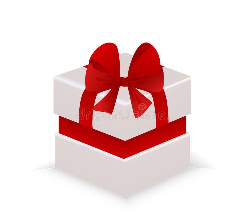Όμορφο άσπρο κιβώτιο δώρων με ένα κόκκινο τόξο ελεύθερη απεικόνιση δικαιώματος