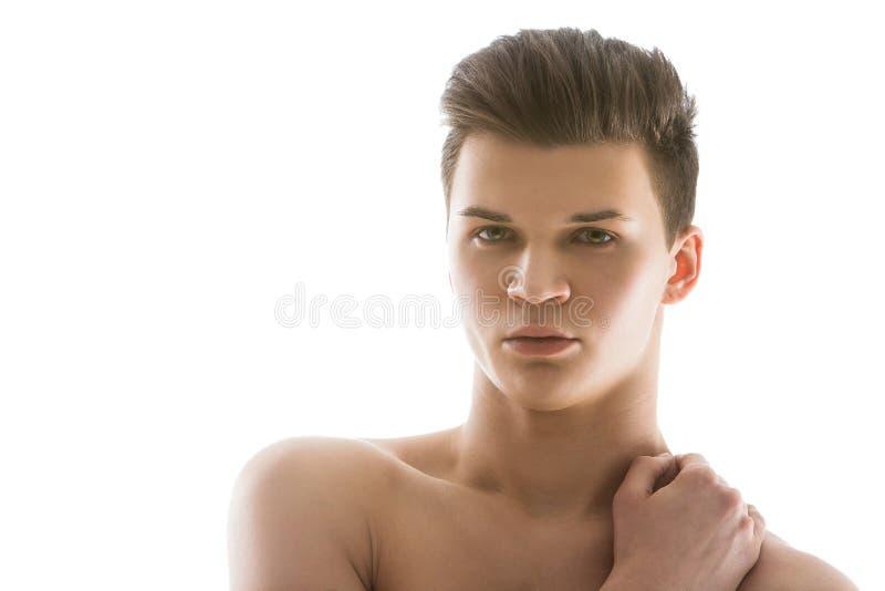 Όμορφο άτομο στο άσπρο υπόβαθρο στοκ φωτογραφία με δικαίωμα ελεύθερης χρήσης