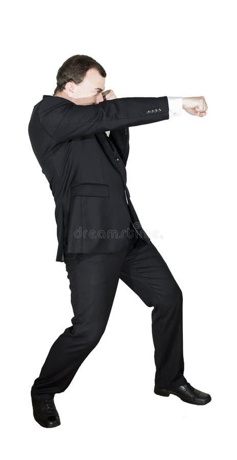 Όμορφο άτομο στο επίσημο κοστούμι στο άσπρο υπόβαθρο Αφηρημένη φωτογραφία των επιχειρησιακών συγκινήσεων στοκ εικόνα με δικαίωμα ελεύθερης χρήσης