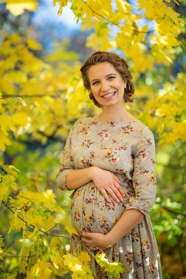όμορφο έγκυο θηλυκό το φθινόπωρο στοκ φωτογραφία με δικαίωμα ελεύθερης χρήσης