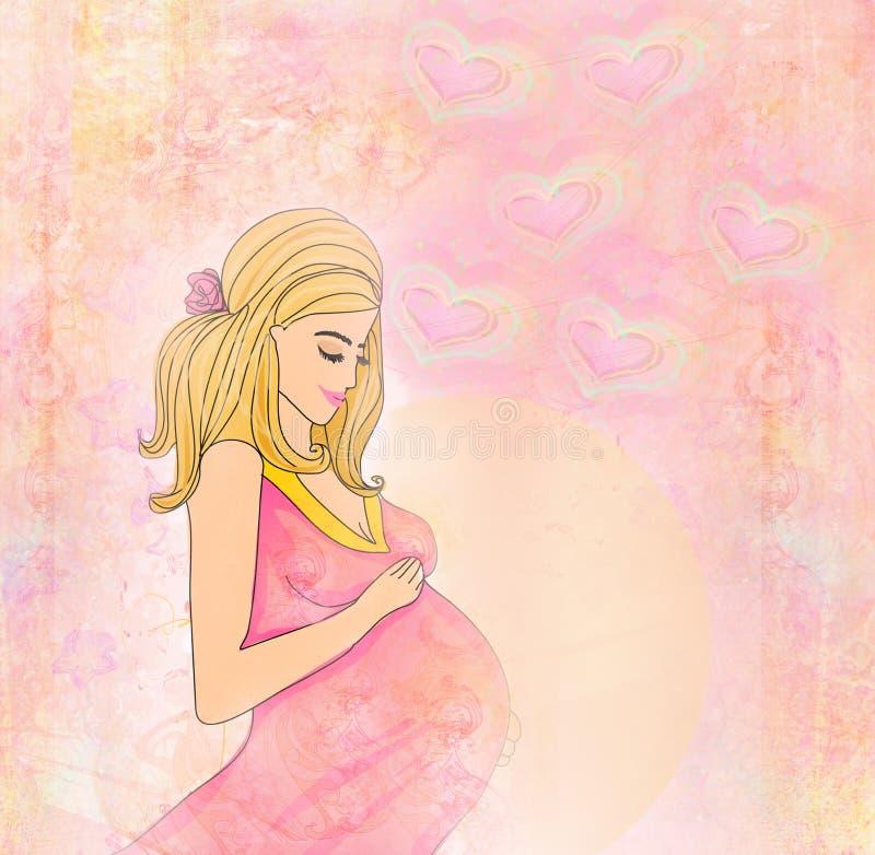 Όμορφο έγκυο κορίτσι ελεύθερη απεικόνιση δικαιώματος