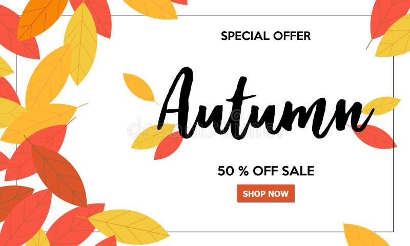 Όμορφο έμβλημα πώλησης φθινοπώρου με την εγγραφή και τα φύλλα απεικόνιση αποθεμάτων