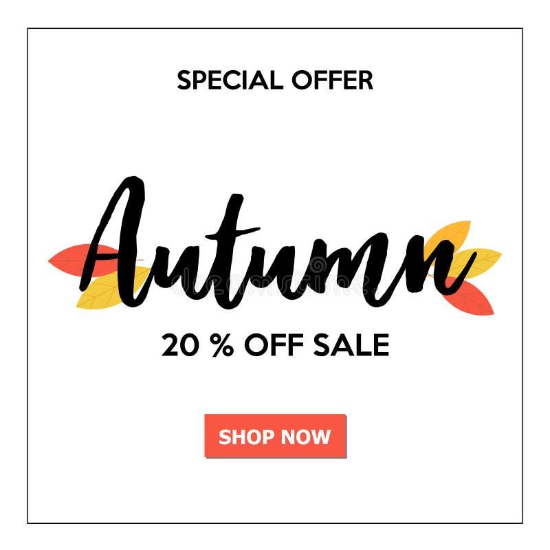 Όμορφο έμβλημα πώλησης φθινοπώρου με την εγγραφή και τα φύλλα διανυσματική απεικόνιση