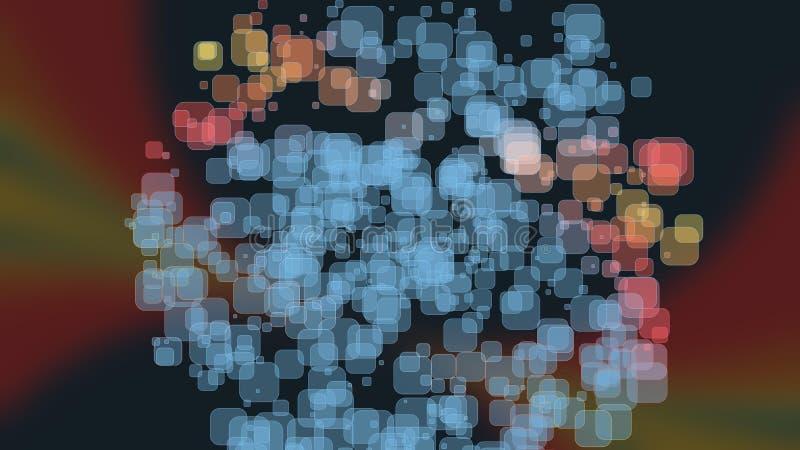 Όμορφο έμβλημα ταπετσαριών με, αφηρημένο σχέδιο, τα γεωμετρικά αντικείμενα, επιπλέουσες διαφανείς φυσαλίδες ορθογωνίων, των μπλε  διανυσματική απεικόνιση