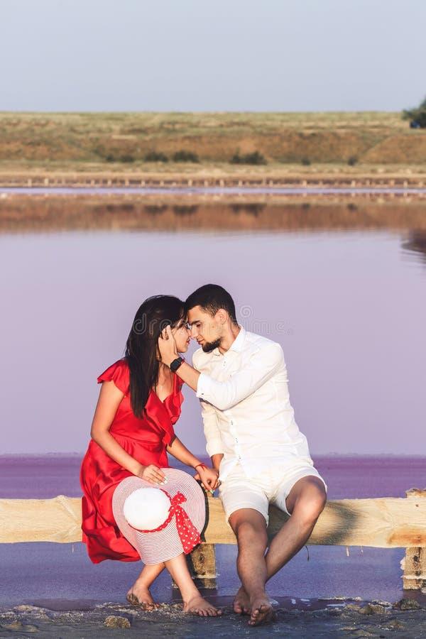 Όμορφο αγαπώντας ζεύγος που αγκαλιάζει στο υπόβαθρο της ρόδινης αλμυρής λίμνης στοκ εικόνα