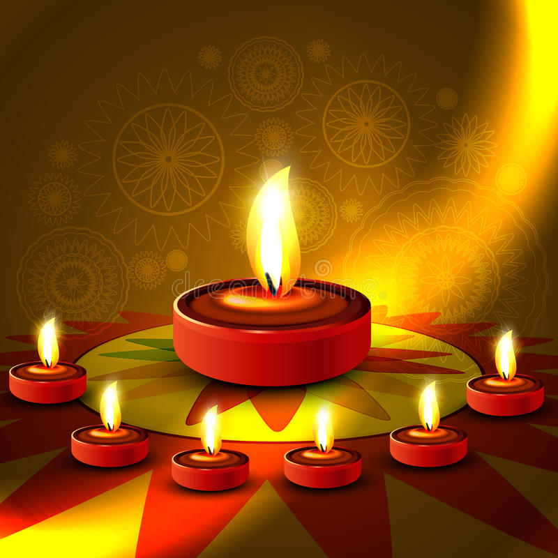 Όμορφο λαμπρό ευτυχές diwali ινδό festiva rangoli diya ζωηρόχρωμο απεικόνιση αποθεμάτων