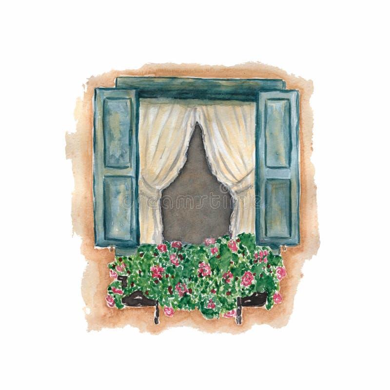 Όμορφο ανοικτό παράθυρο με τα ανθίζοντας λουλούδια τριαντάφυλλων Χρωματισμένη χέρι απεικόνιση Watercolor Παραδοσιακός ντεμοντέ Wa διανυσματική απεικόνιση