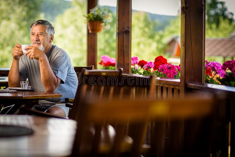 Όμορφο ανώτερο άτομο που απολαμβάνει τον καφέ πρωινού του στοκ εικόνα με δικαίωμα ελεύθερης χρήσης