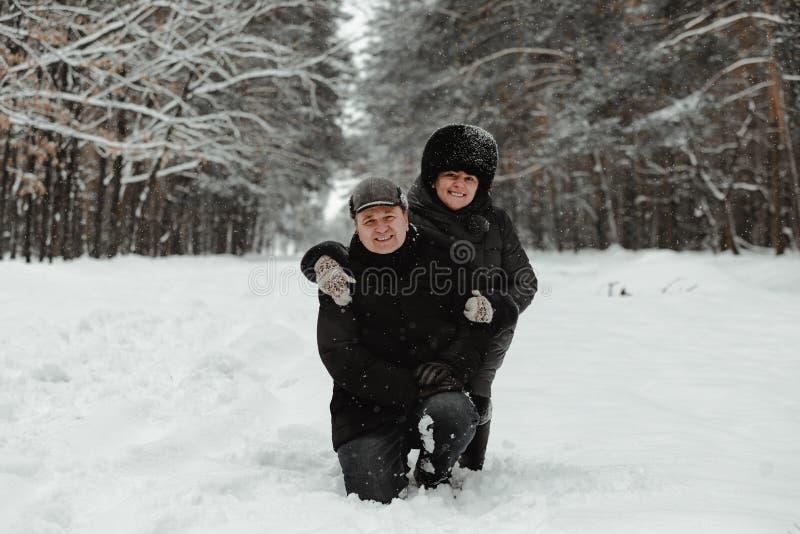 Όμορφο ανώτερο ζεύγος στη χειμερινή φύση στοκ φωτογραφίες με δικαίωμα ελεύθερης χρήσης