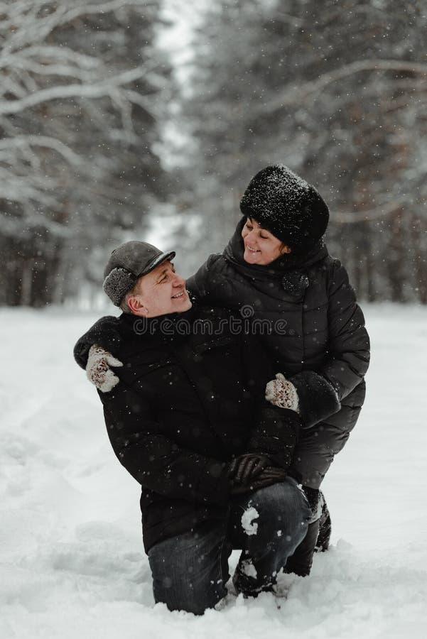 Όμορφο ανώτερο ζεύγος στη χειμερινή φύση στοκ εικόνες