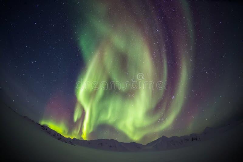 Όμορφο αρκτικό τοπίο παγετώνων με τα βόρεια φω'τα - Spitsbergen, Svalbard στοκ φωτογραφίες με δικαίωμα ελεύθερης χρήσης