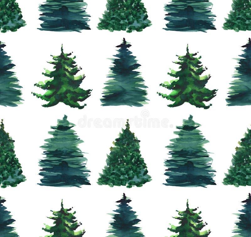 Όμορφο αφηρημένο γραφικό καλλιτεχνικό θαυμάσιο φωτεινό χέρι watercolor σχεδίων χειμερινών πράσινο κομψό δέντρων διακοπών Χριστουγ ελεύθερη απεικόνιση δικαιώματος