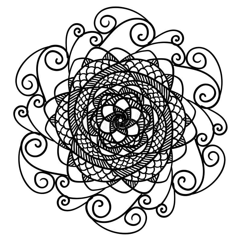 Όμορφο αφηρημένο μαύρο mandala που απομονώνεται στο λευκό ελεύθερη απεικόνιση δικαιώματος