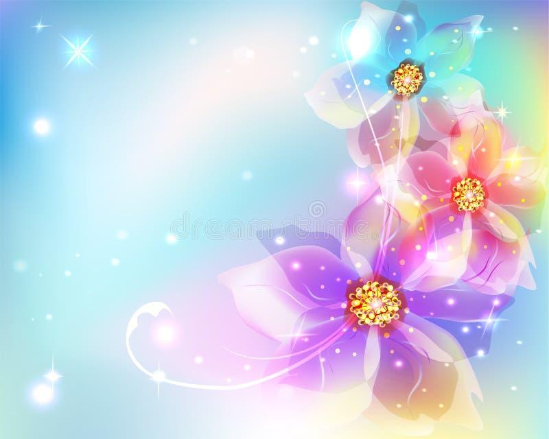 Όμορφο αφηρημένο υπόβαθρο με τα λουλούδια διανυσματική απεικόνιση