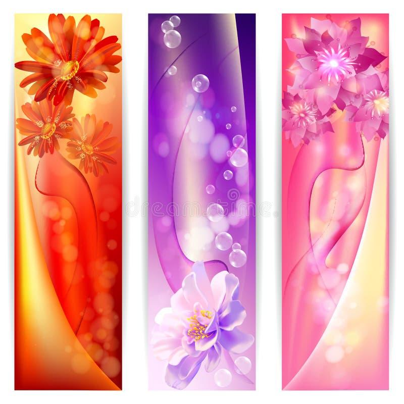 Όμορφο αφηρημένο υπόβαθρο με το έμβλημα λουλουδιών ελεύθερη απεικόνιση δικαιώματος