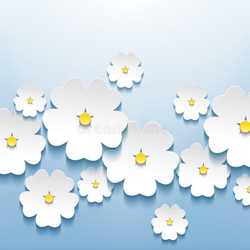 Όμορφο αφηρημένο floral υπόβαθρο με το τρισδιάστατο flowe ελεύθερη απεικόνιση δικαιώματος