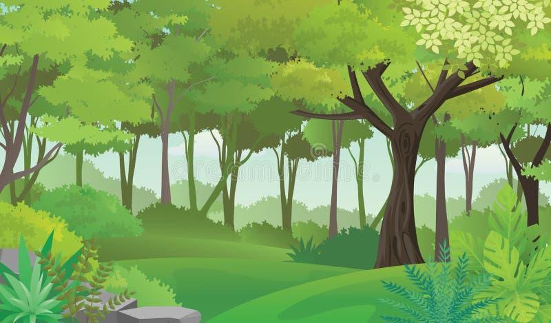 Όμορφο βαθύ τροπικό τροπικό δάσος, διανυσματική απεικόνιση ελεύθερη απεικόνιση δικαιώματος