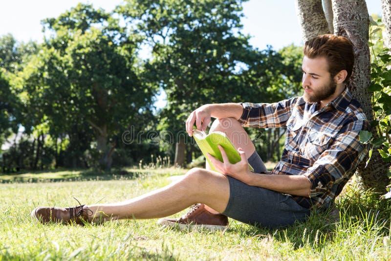 Όμορφο βιβλίο ανάγνωσης hipster στο πάρκο στοκ εικόνα