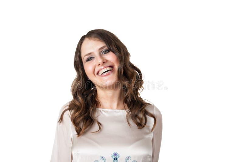 Όμορφο γέλιο brunette στοκ φωτογραφία με δικαίωμα ελεύθερης χρήσης