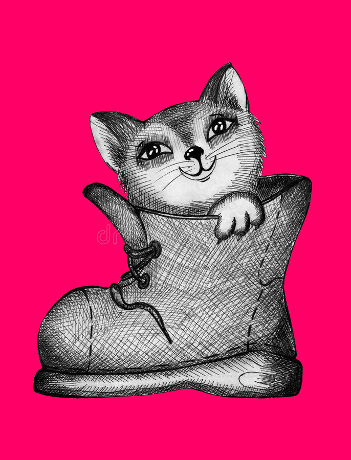 Όμορφο γατάκι σε μια μπότα ελεύθερη απεικόνιση δικαιώματος