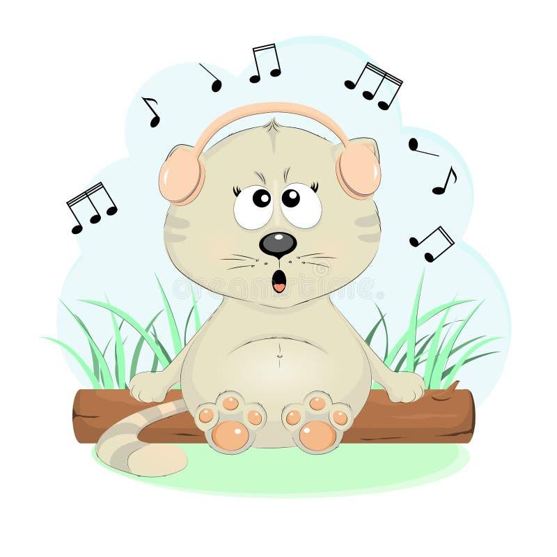 Όμορφο γατάκι στα ακουστικά ελεύθερη απεικόνιση δικαιώματος
