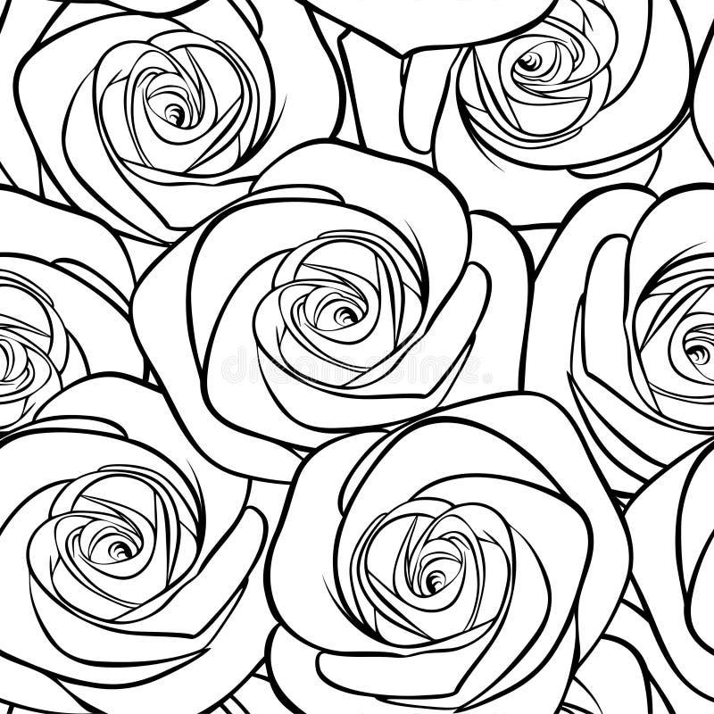 Όμορφο γραπτό άνευ ραφής σχέδιο στα τριαντάφυλλα με τα περιγράμματα ελεύθερη απεικόνιση δικαιώματος