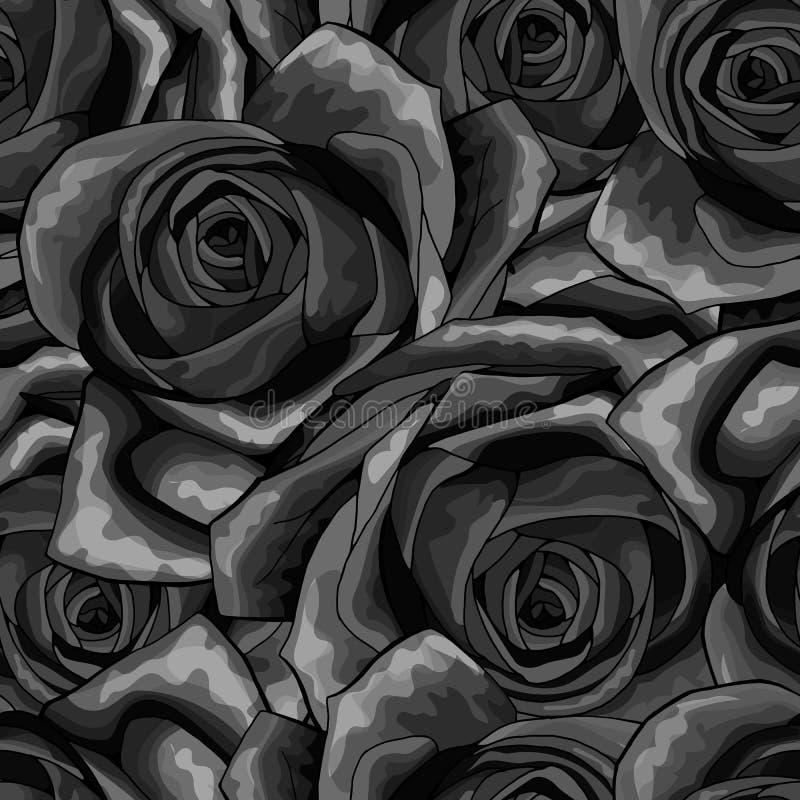 Όμορφο γραπτό μονοχρωματικό άνευ ραφής σχέδιο στα τριαντάφυλλα με τα περιγράμματα διανυσματική απεικόνιση