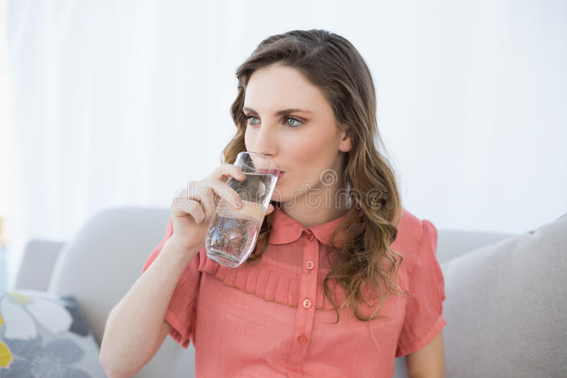 Όμορφο γυαλί κατανάλωσης εγκύων γυναικών της συνεδρίασης νερού στον καναπέ στο καθιστικό στοκ εικόνες