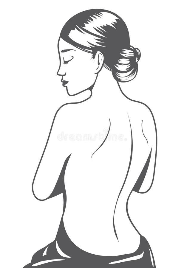Όμορφο γυναικών γραμμικό ύφος άποψης κινούμενων σχεδίων πίσω ελεύθερη απεικόνιση δικαιώματος