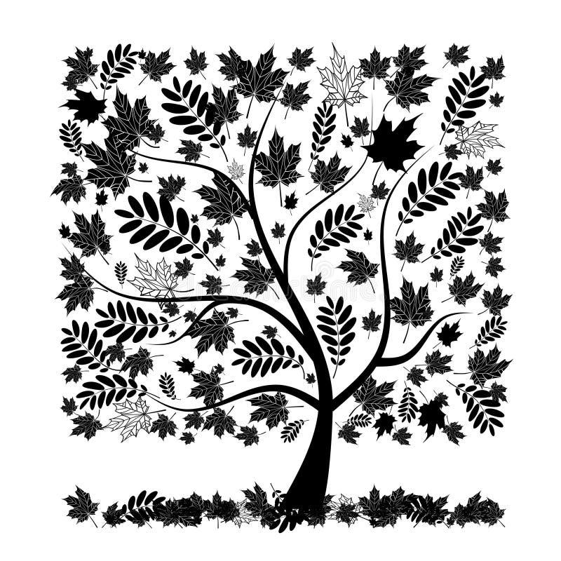 Όμορφο δέντρο φθινοπώρου για το σχέδιό σας διανυσματική απεικόνιση